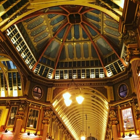 Looking up at the star decorated ceiling at Leadenhall market