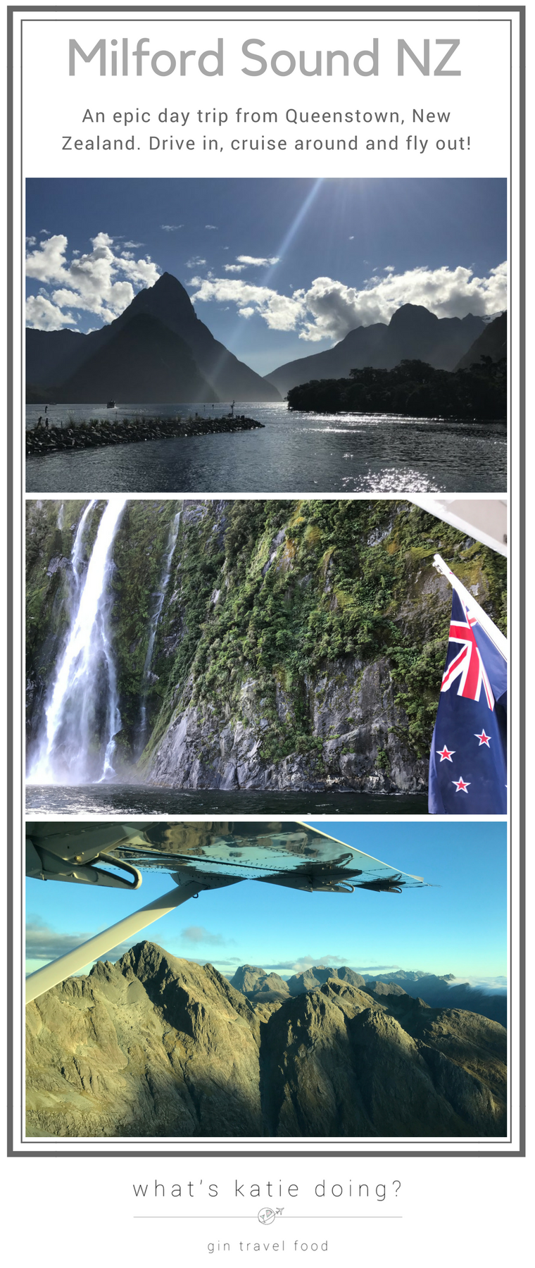Three pictures of Milford Sound, New Zealand