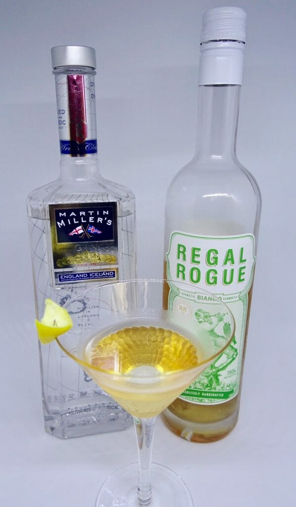 Martin Miller's & Regal Rogue dry martini with a twist fro What's Katie doing? blog
