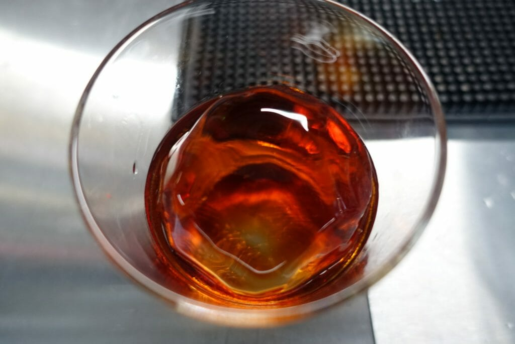 View of the negroni cocktail