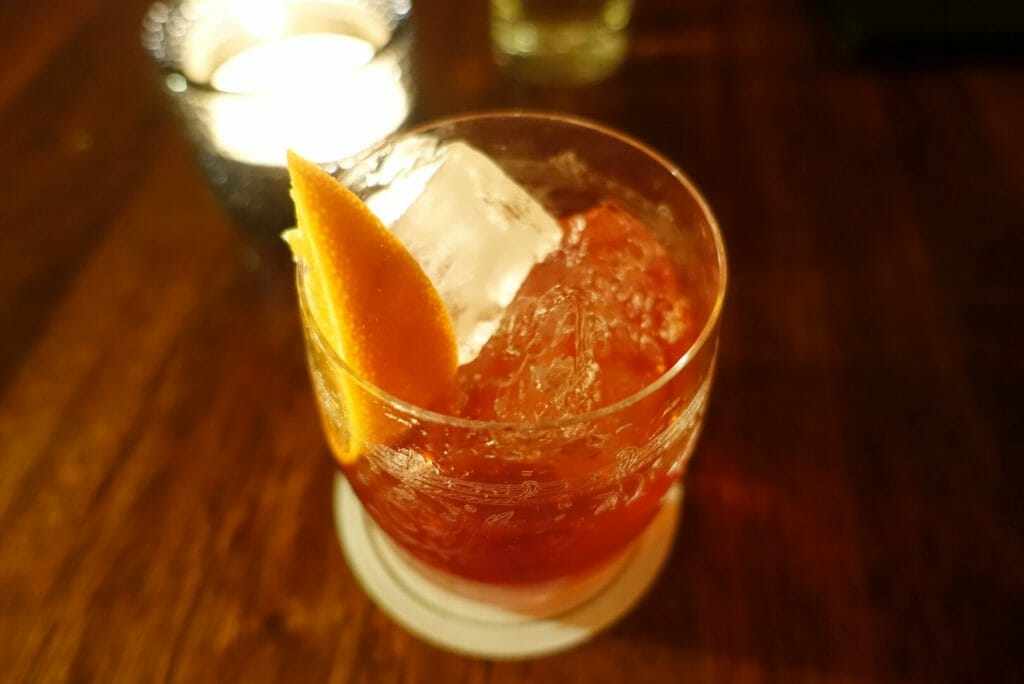 Close up of the negroni
