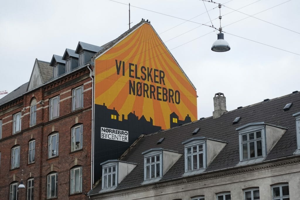'We love Norrebro' sign