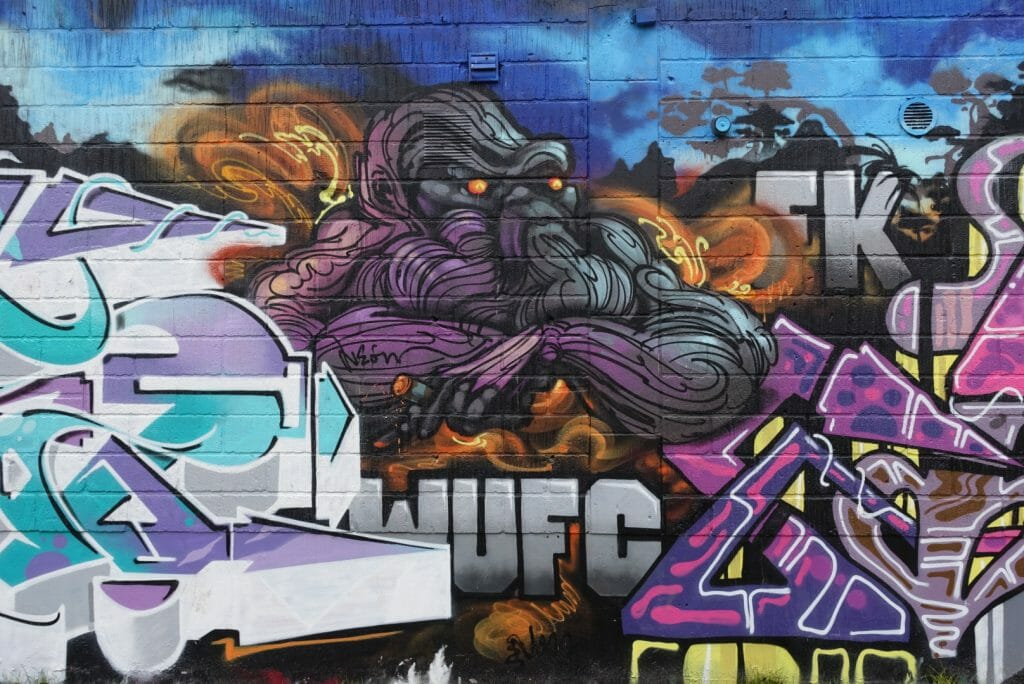 Colourful graffiti art walls