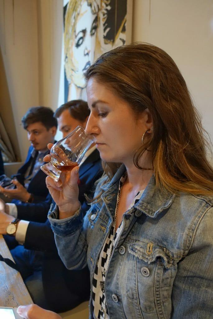 Anne tasting whisky