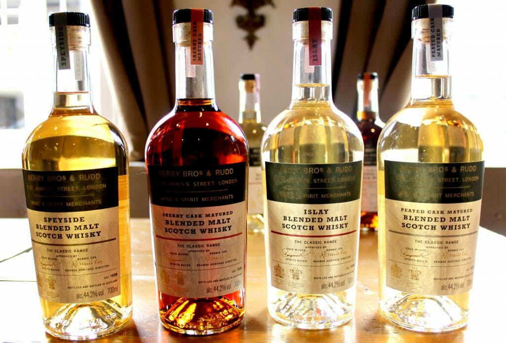 Four different blends of whisky we tasted