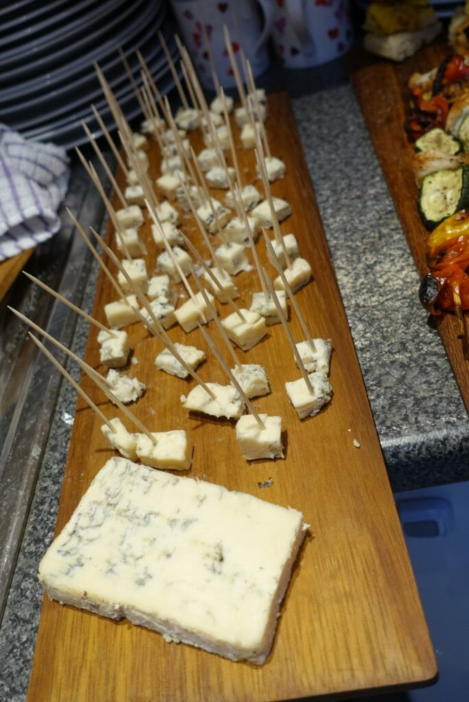 Blue cheese samples on board