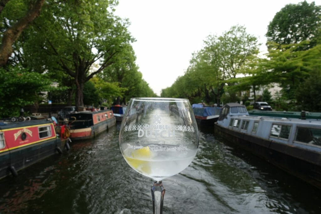 Double Dutch gin glass and canal view