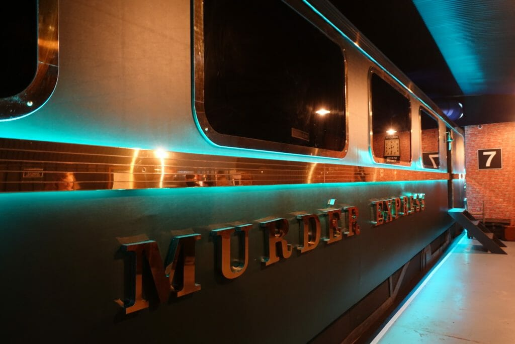 The outside of the Murder Express train carriage