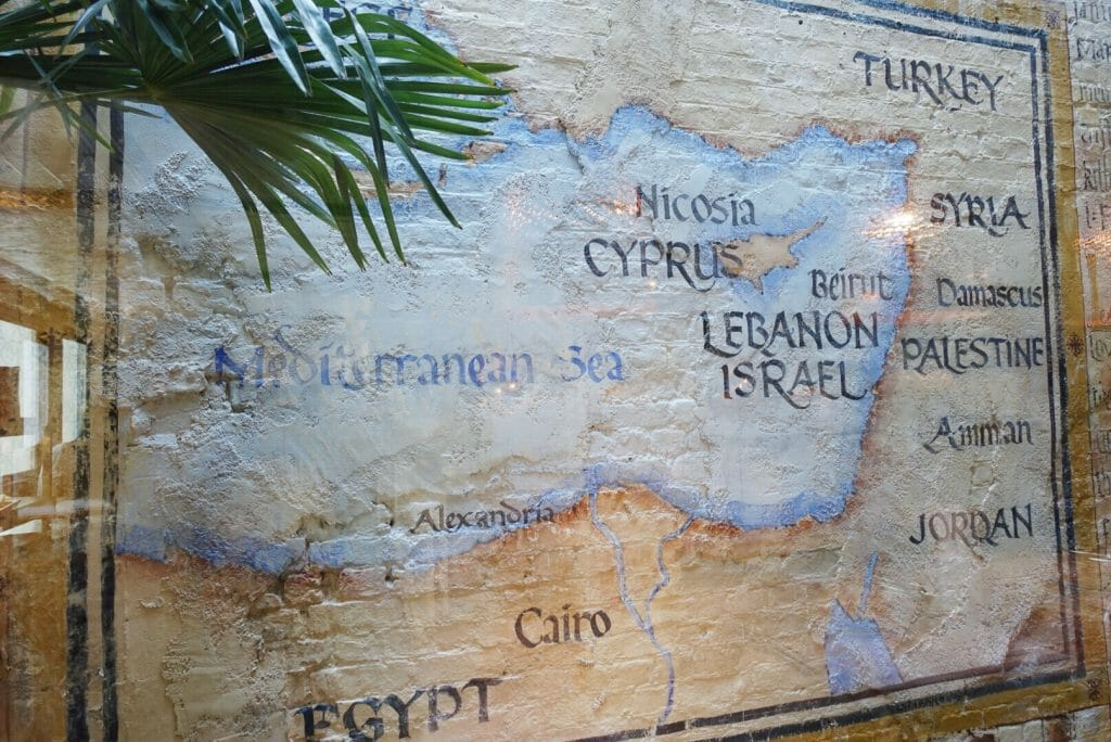 Mural showing a map of the Mediterranean Sea and Levant region