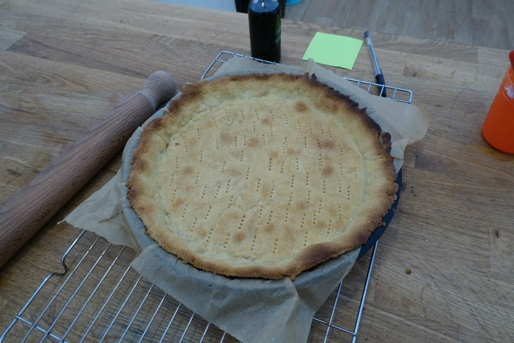 Our large pastry tart cooling out of the oven