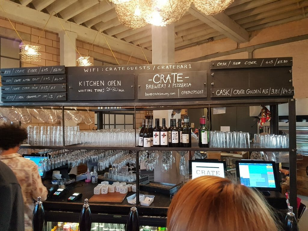 Inside Crate brewery bar