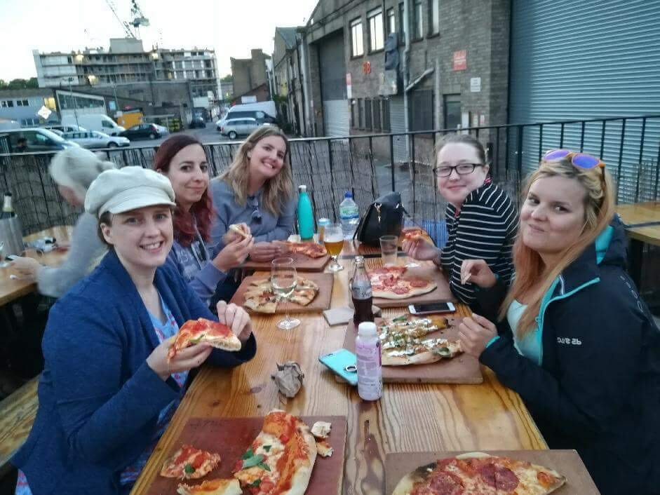 The Love Pop Ups London crew enjoying pizza at Crate Brewery