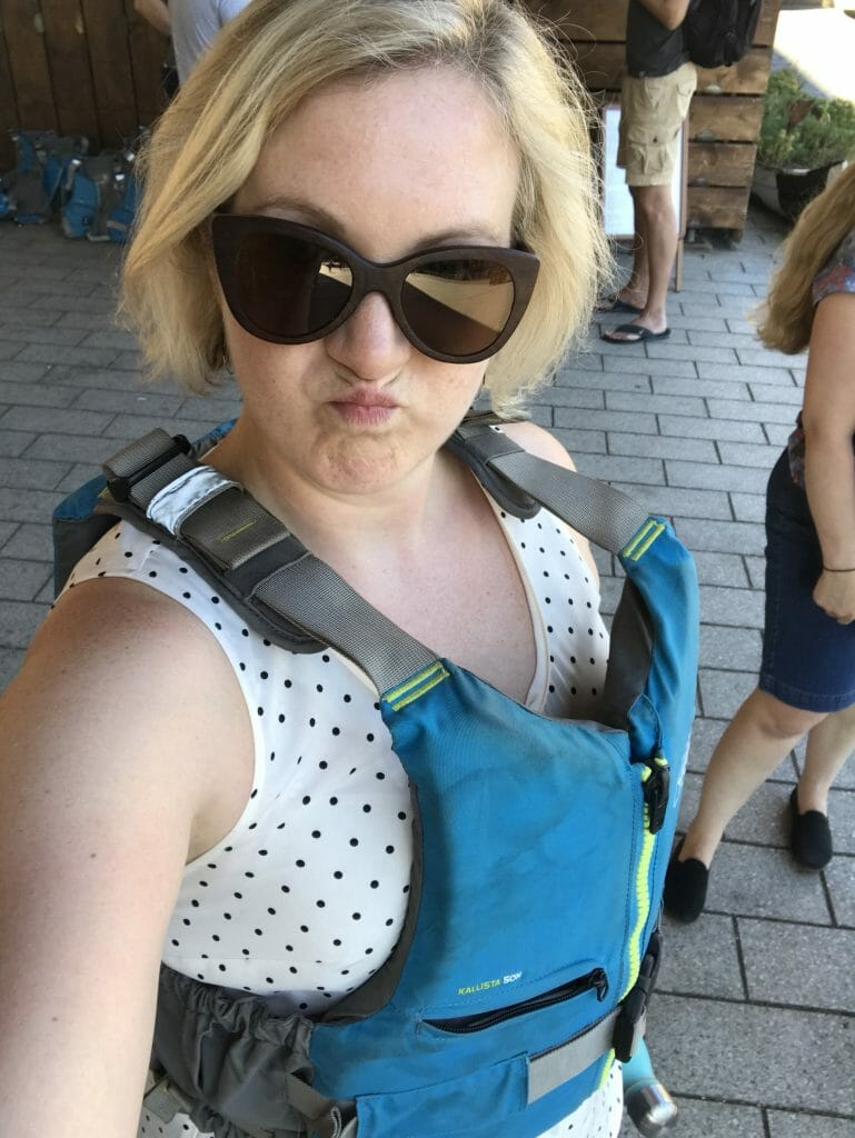 Katie posing with life jacket