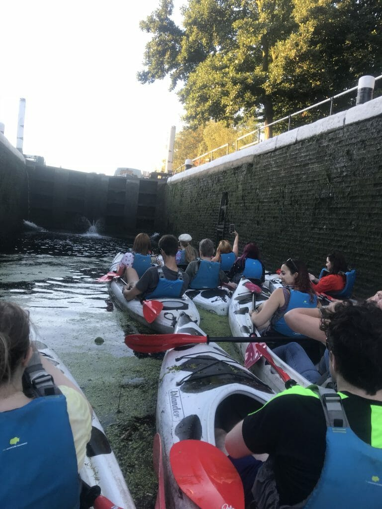 Inside the canal lock
