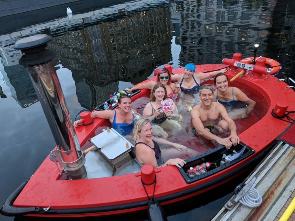The Love Pop Ups London gang in the floating hot tub that is HotTug