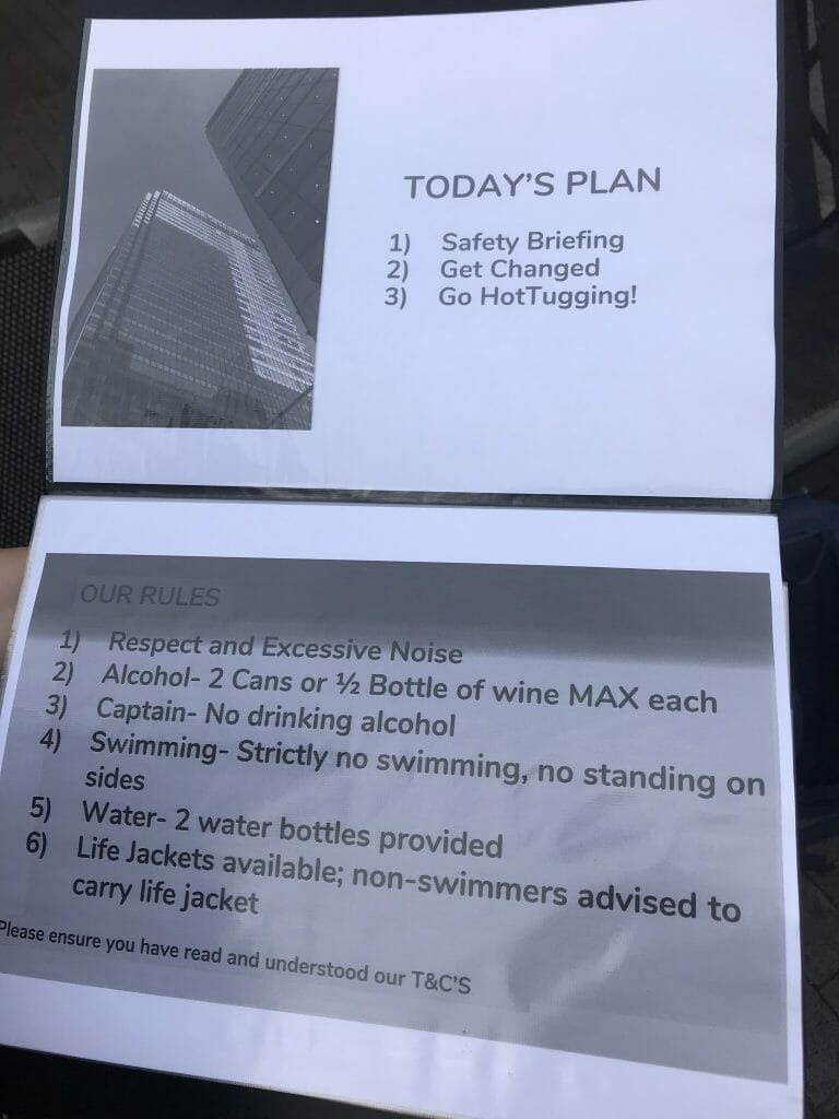 The rules we went through on our safety briefing