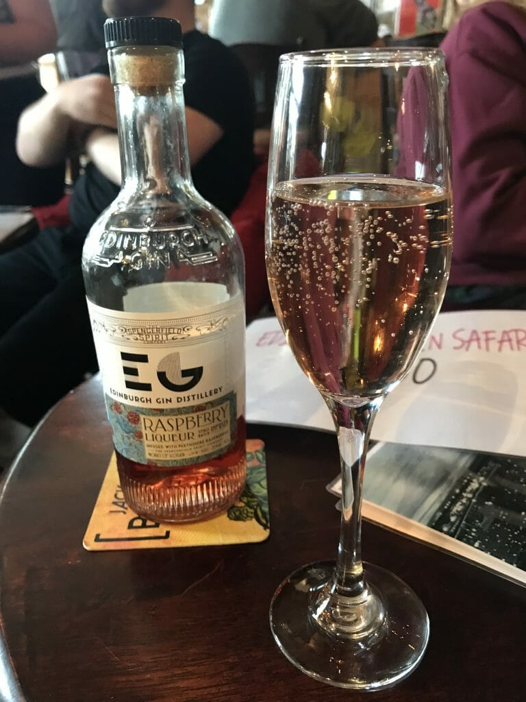 Edinburgh gin raspberry liqueur with prosecco to start