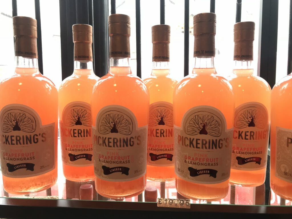 A shelf of Pickering's grapefruit and lemongrass liqueur