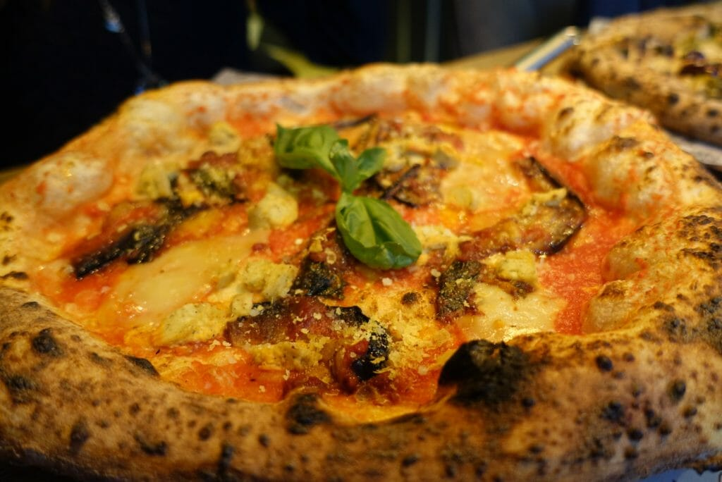 Close up of the sourdough aubergine pizza
