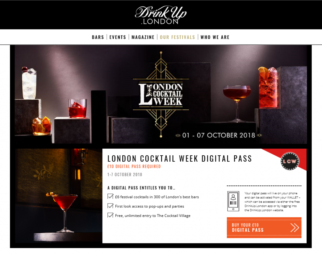 Drink Up London landing page, London Cocktail Week 2018