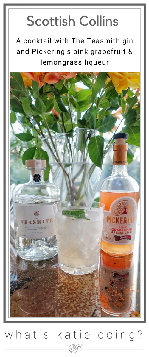 The Scottish Collins cocktail with The Teasmith gin & Pickering's pink grapefruit & lemongrass liqueur