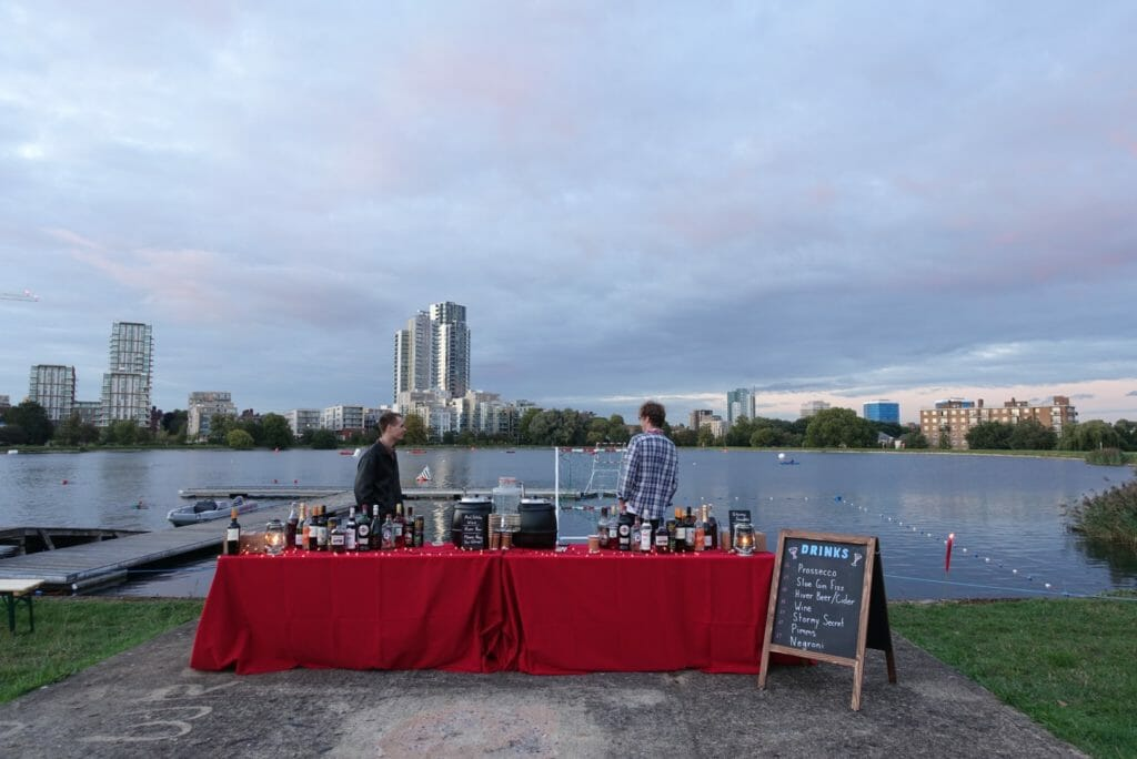 The temporary bar in front of the reservoir