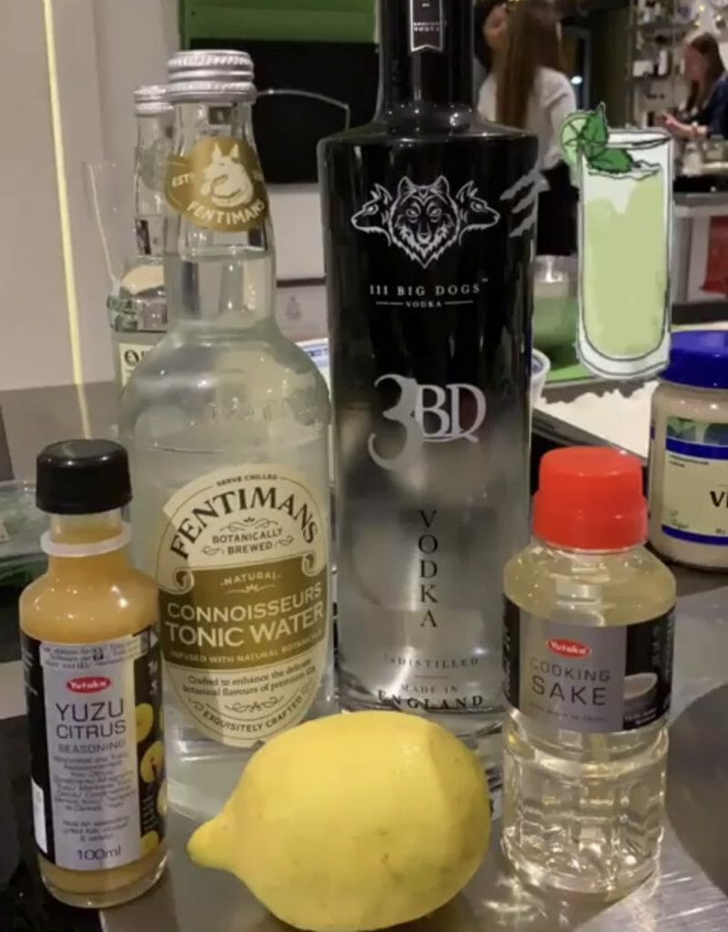 The cocktail ingredients lined up