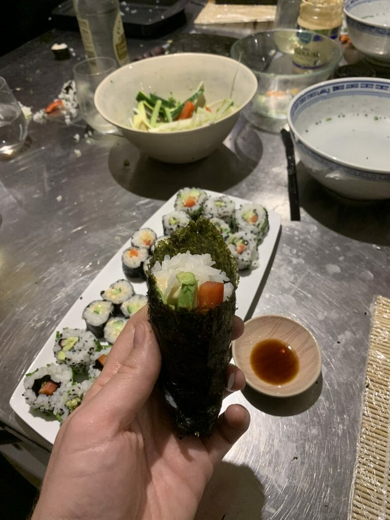 The hand roll in front of my other finished rolls and showing the mess behind!