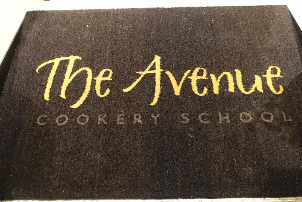 The entrance way into the Avenue Cookery School