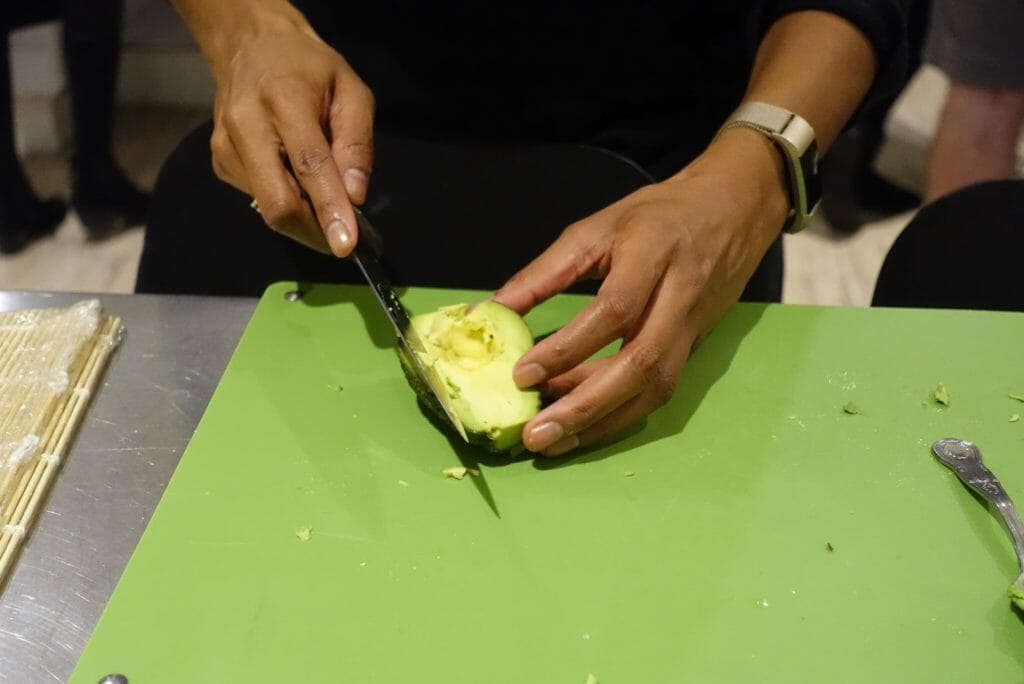Testing out our knife skills on the avo