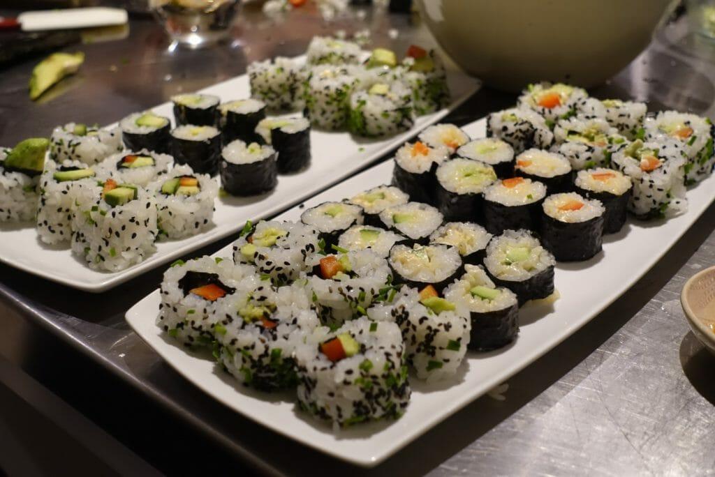 Vegan sushi at Avenue Cookery School