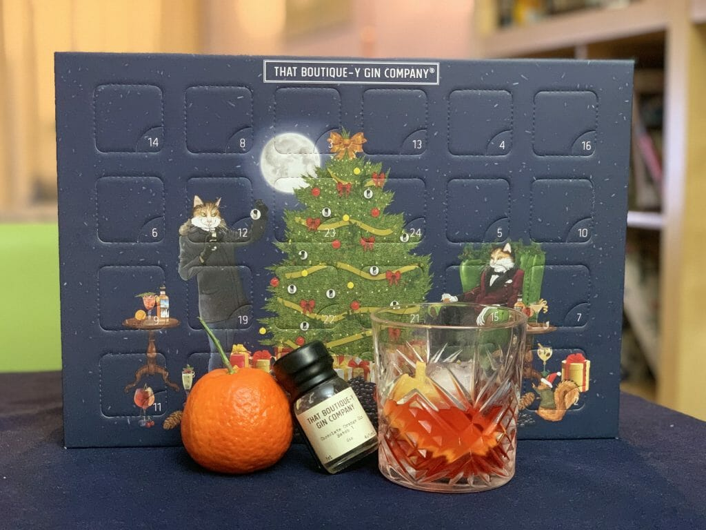 Boutique-y gin company advent calendar with suggested serve