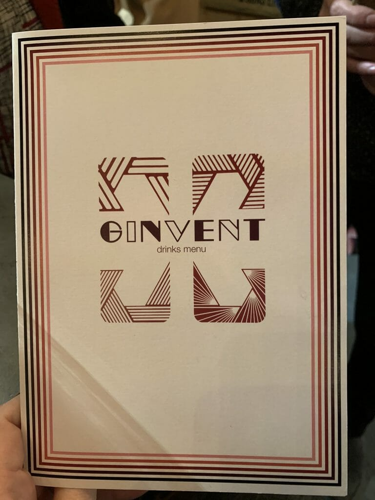 The Ginvent drinks menu front cover