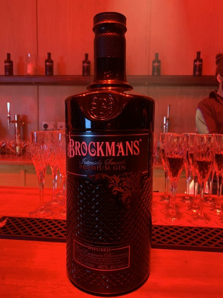 A massive Brockmans gin bottle
