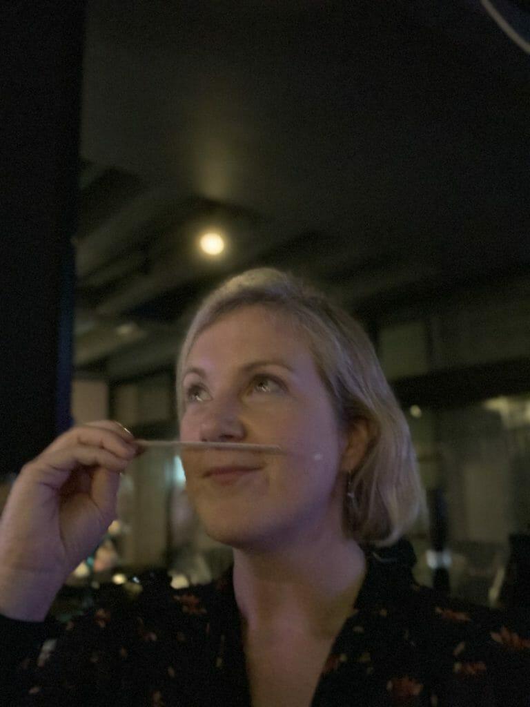 Katie smelling the single botanical oils