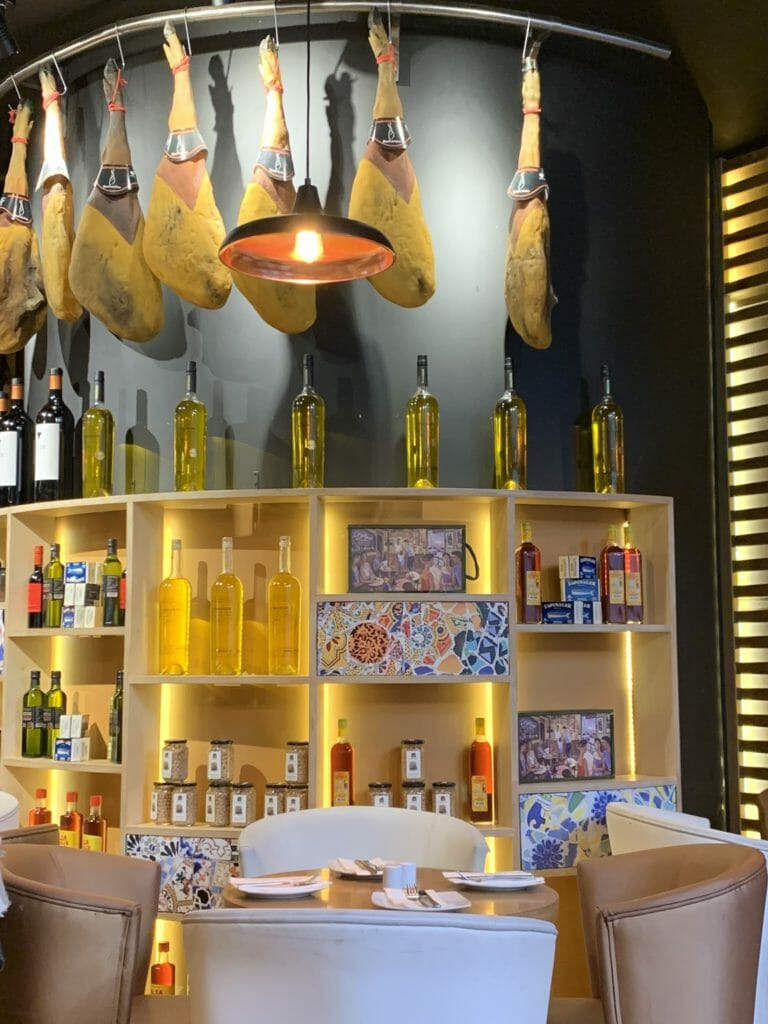Jamon, olive oil and wine on display in Las Banderas