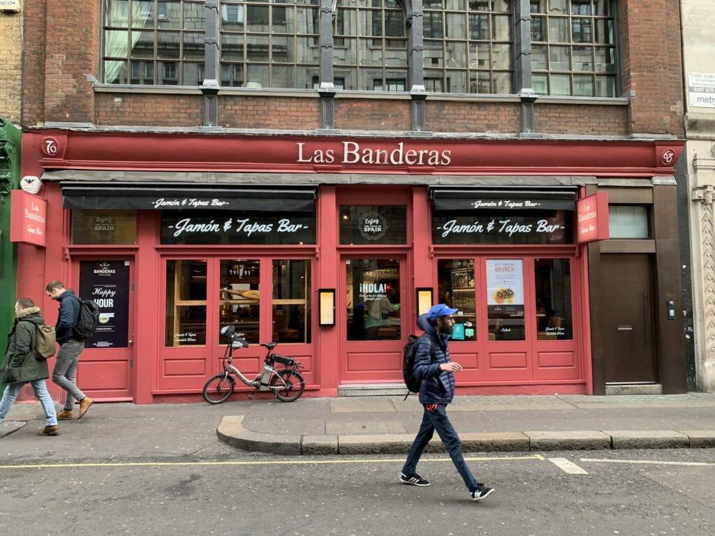 The red facade of Las Banderas on Wardor Street, Soho