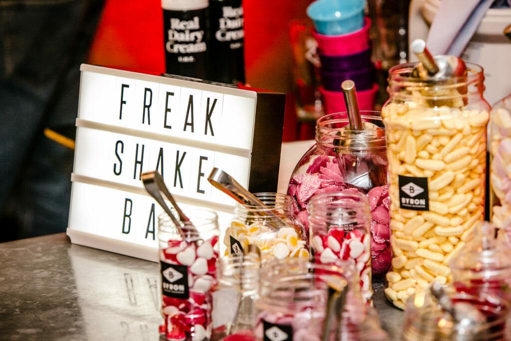 Freak Shake Bar with goodies to pimp your milkshake