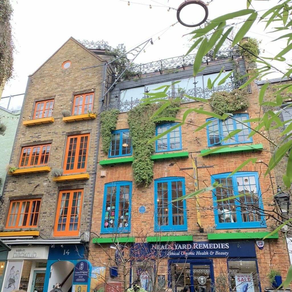 Neals Yard with lots of vibrant paintwork