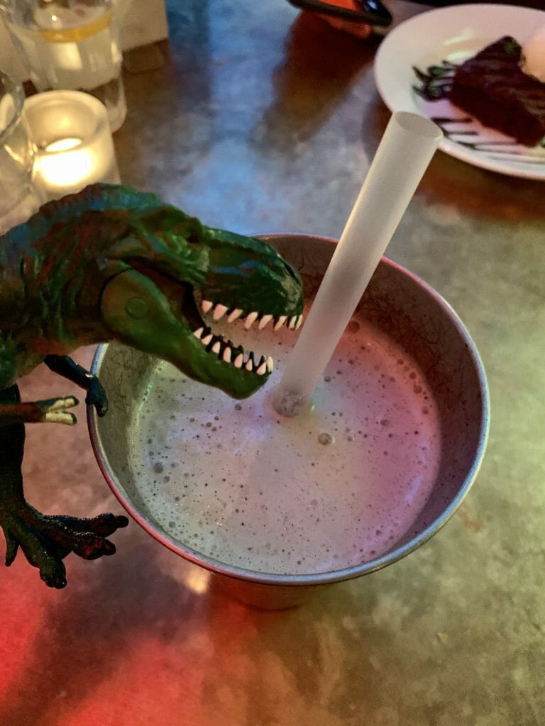 T-Rex and the milk shake in a tin cup