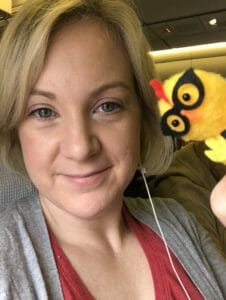 Katie and chickie on the flight