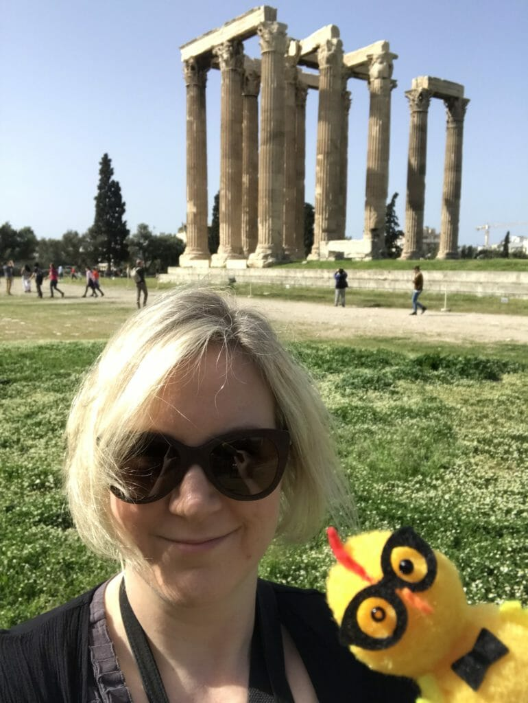 Katie and chickie with the Temple of Olympian Zeus in the background