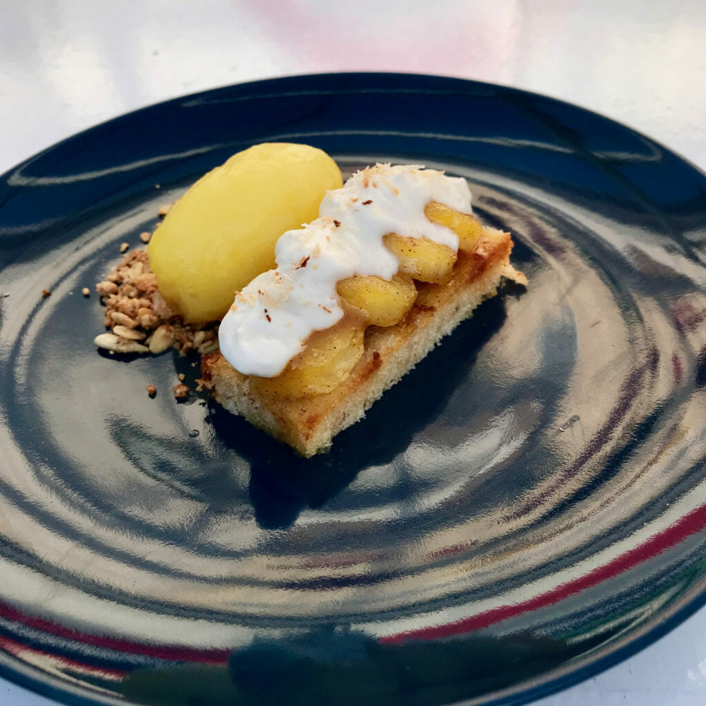 Close up of the banana dessert