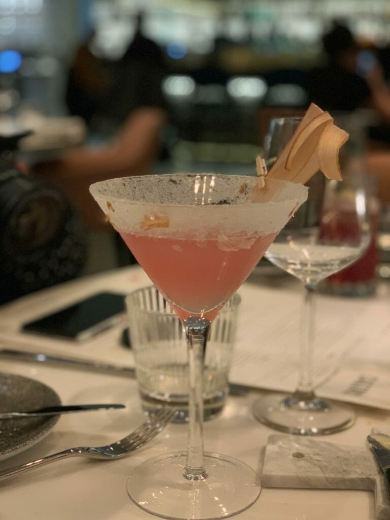 Martini style glass with pink cocktail