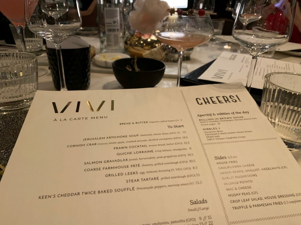 The Vivi menu