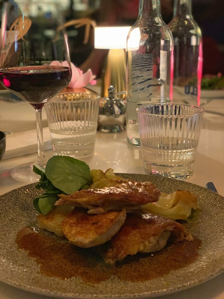 The Guinea Fowl with a glass of New Zealand Pinot Noir