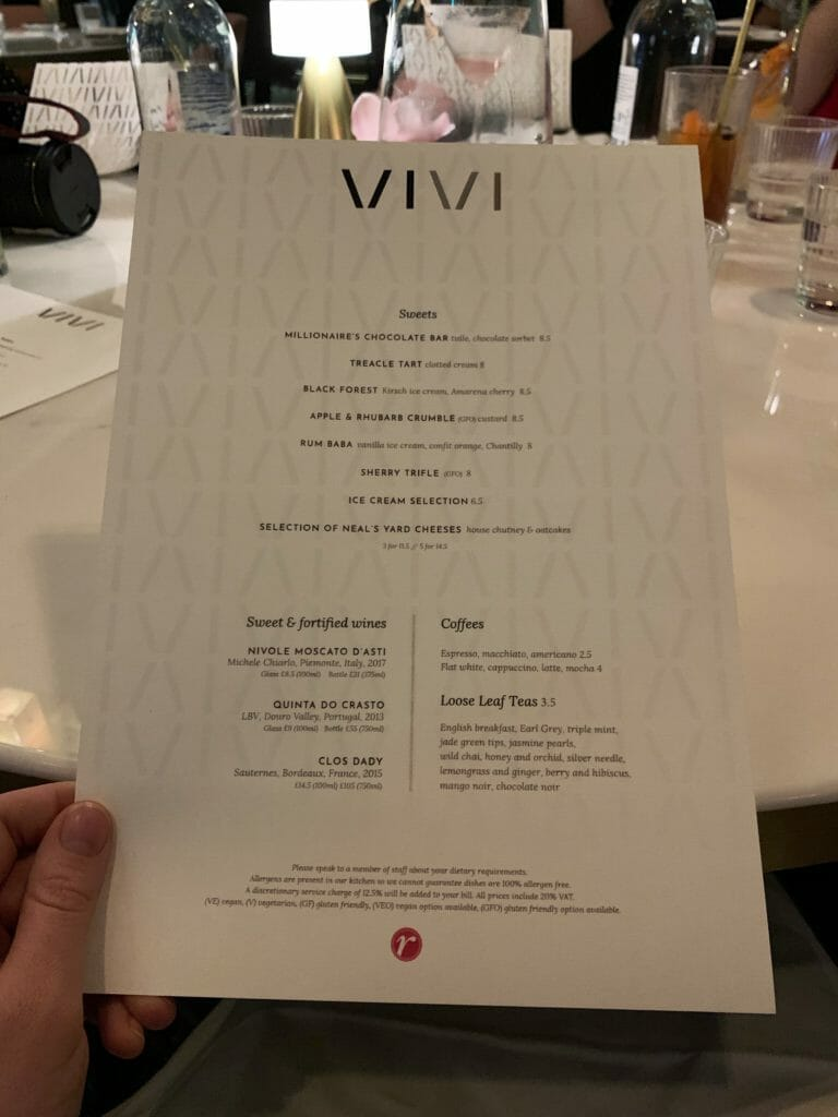 The Vivi dessert menu
