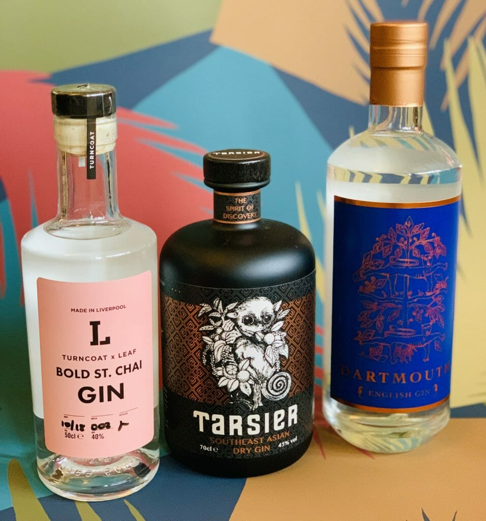 Bottles of Bold St Chai, Tarsier and Dartmouth English gins