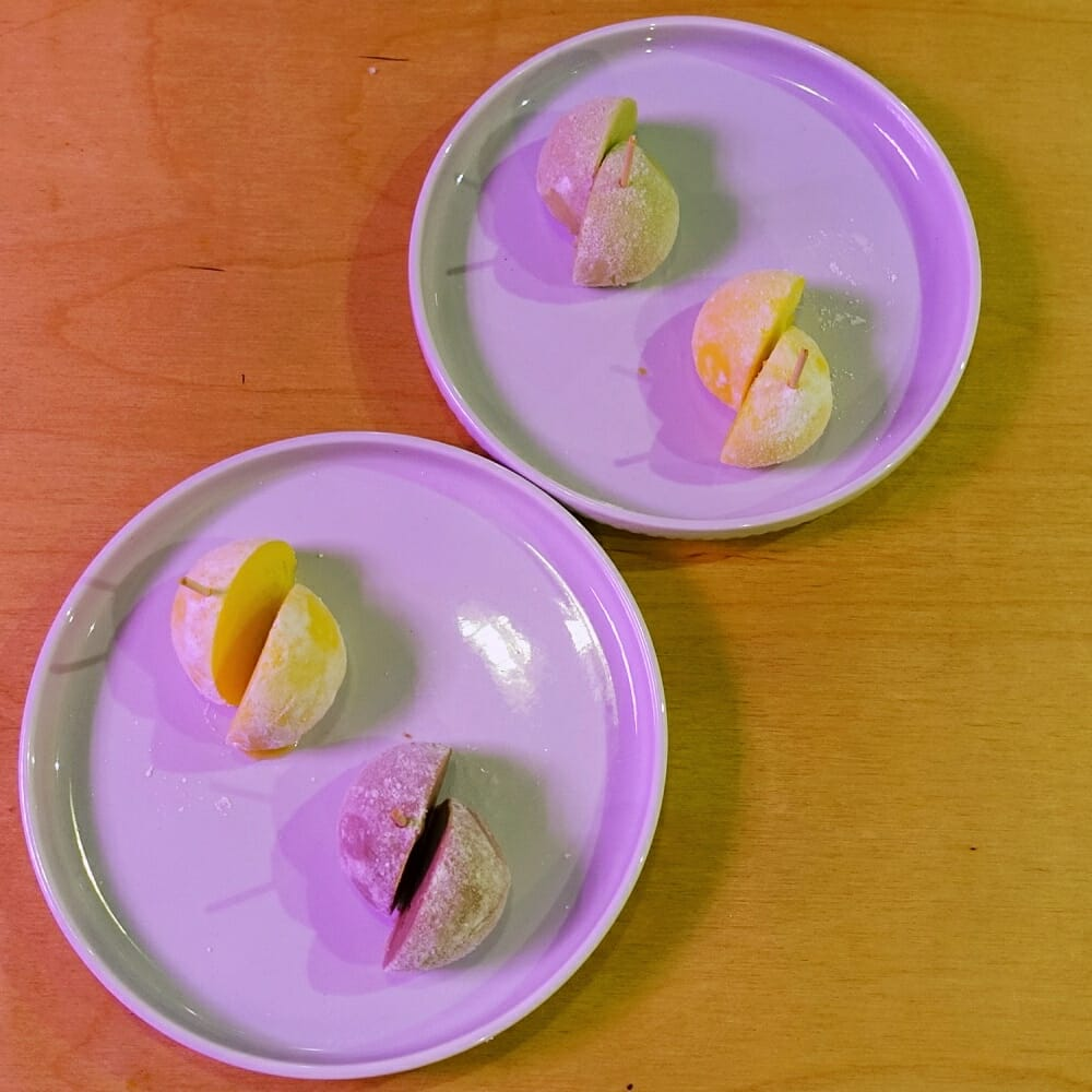 Flat-lay, two plates of ice cream mochi