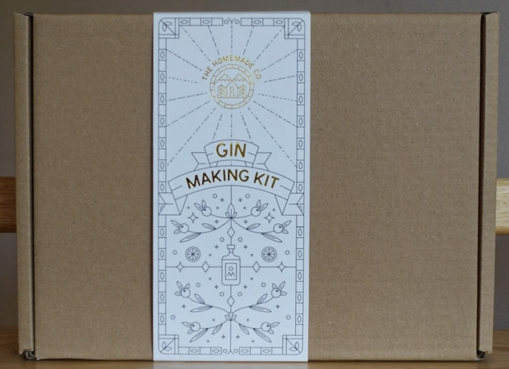 The outside of the Homemade Co gin making kit box